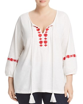 JUNAROSE Plus - Sacha Embroidered Peasant Top