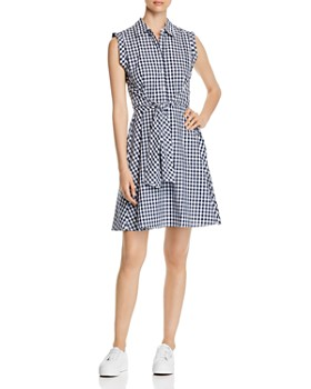 Cupio - Gingham Tie-Front Shirt Dress