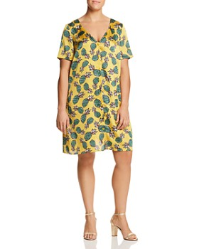 GLAMOROUS CURVY - Pineapple Button-Front Dress