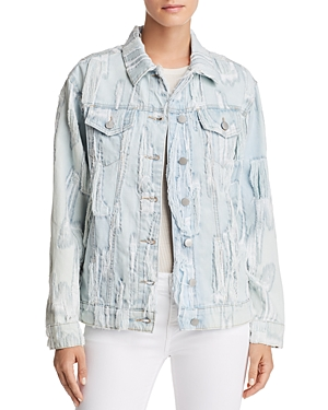 True Religion Trucker Shredded Denim Jacket in Cyan Cyclone