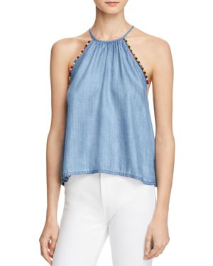 HONEY PUNCH Pom-Pom Chambray Tank in Blue