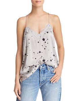 CAMI NYC - Lace-Trimmed Star-Print Silk Top