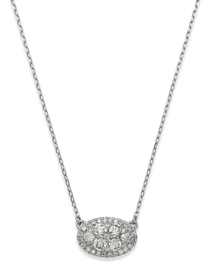 Bloomingdale's Diamond Cluster Oval Pendant Necklace In 14K White Gold, 0.75 Ct. T.W. - 100% Exclusive