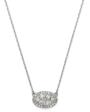 Bloomingdale's Diamond Cluster Oval Pendant Necklace in 14K White Gold, 0.75 ct. t.w. - 100% Exclusi