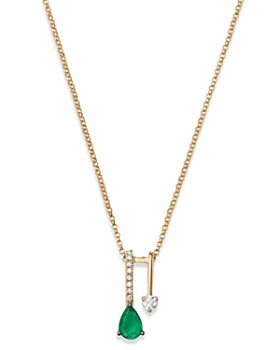 "Bloomingdale's - Emerald Teardrop & Diamond Pendant Necklace in 14K Yellow Gold, 18"" - 100% Exclusive"