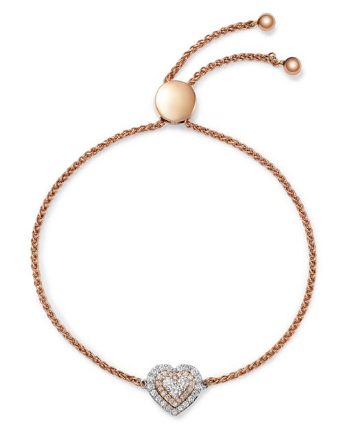 Bloomingdale's - Diamond Heart Bolo Bracelet in 14K White Gold & Rose Gold, 0.50 ct. t.w. - 100% Exclusive