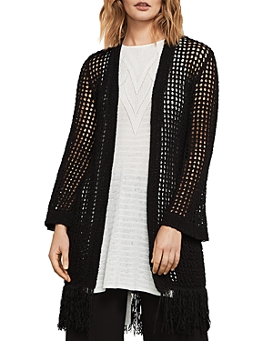 Bcbgmaxazria Fringed Open-Knit Cardigan