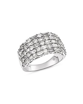 Bloomingdale's - Five Row Diamond Baguette & Round Ring in 14K White Gold, 2.50 ct. t.w. - 100% Exclusive