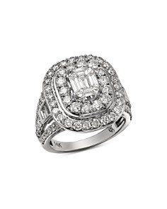 Bloomingdale's - Diamond Mosaic & Double Halo Ring in 14K White Gold, 3.0 ct. t.w. - 100% Exclusive