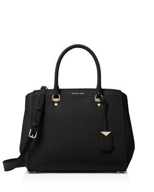 Soft Polished Leather Benning Large Satchel Bag in Black/Gold
