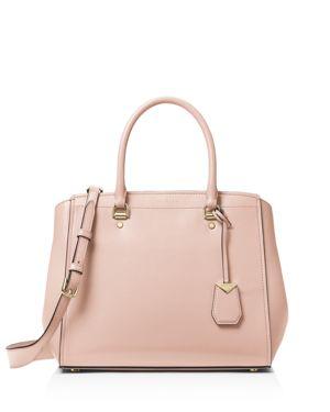 Soft Polished Leather Benning Large Satchel Bag in Soft Pink/Gold