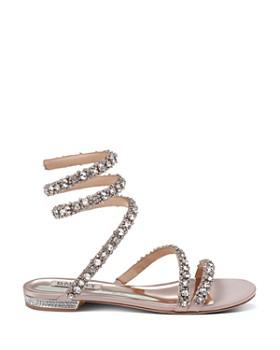 fb7cfc5f41ce ... Badgley Mischka - Women s Paz Embellished Satin Ankle Wrap Flat Sandals