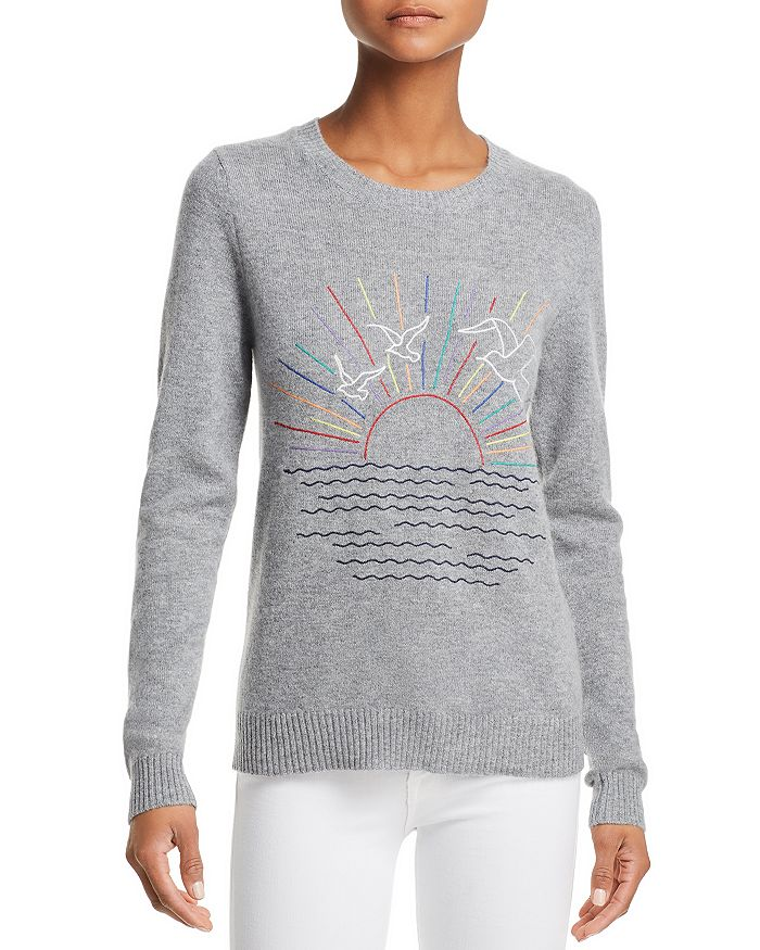 AQUA - Sunset-Embroidered Cashmere Sweater - 100% Exclusive