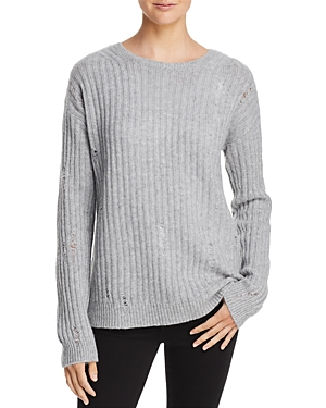 Aqua Cashmere Rib-Knit Distressed Cashmere Sweater - 100% Exclusive
