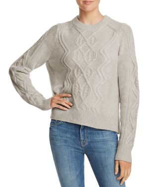 Aqua Cashmere Aran-Knit Cashmere Sweater - 100% Exclusive