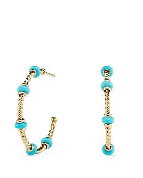 David Yurman - Rio Rondelle Large Hoop Earrings with Turquoise & 18K Gold