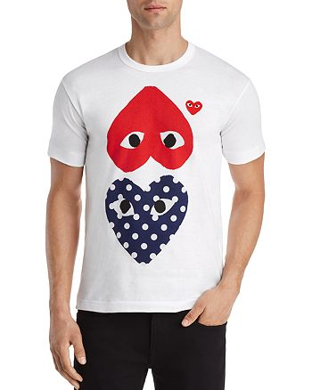 9caced78e84 Comme Des Garcons PLAY Polka-Dot and Red Heart-to-Heart Graphic Tee ...
