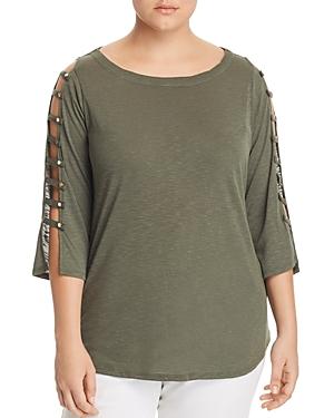 New Love Scarlett Plus Ladder-Sleeve Top, Military Green