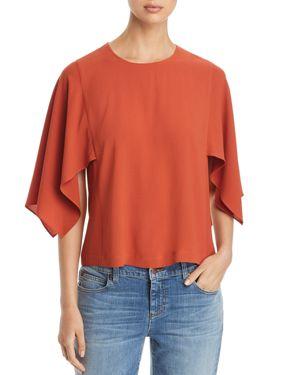 Handkerchief Sleeve Silk Top, Orange