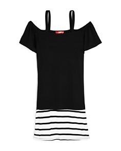AQUA Girls' Contrast Striped Off-the-Shoulder Shirt Dress, Big Kid - 100% Exclusive - Bloomingdale's_0