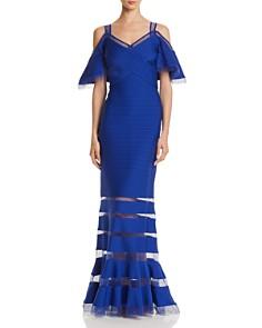 Tadashi Shoji - Pintucked Cold-Shoulder Gown