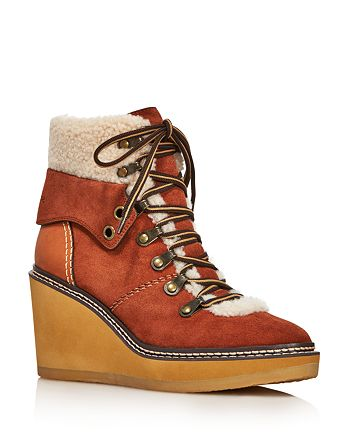 f8784588415 See by Chloé See by Chloe Women's Eileen Shearling-Lined Wedge Hiker ...