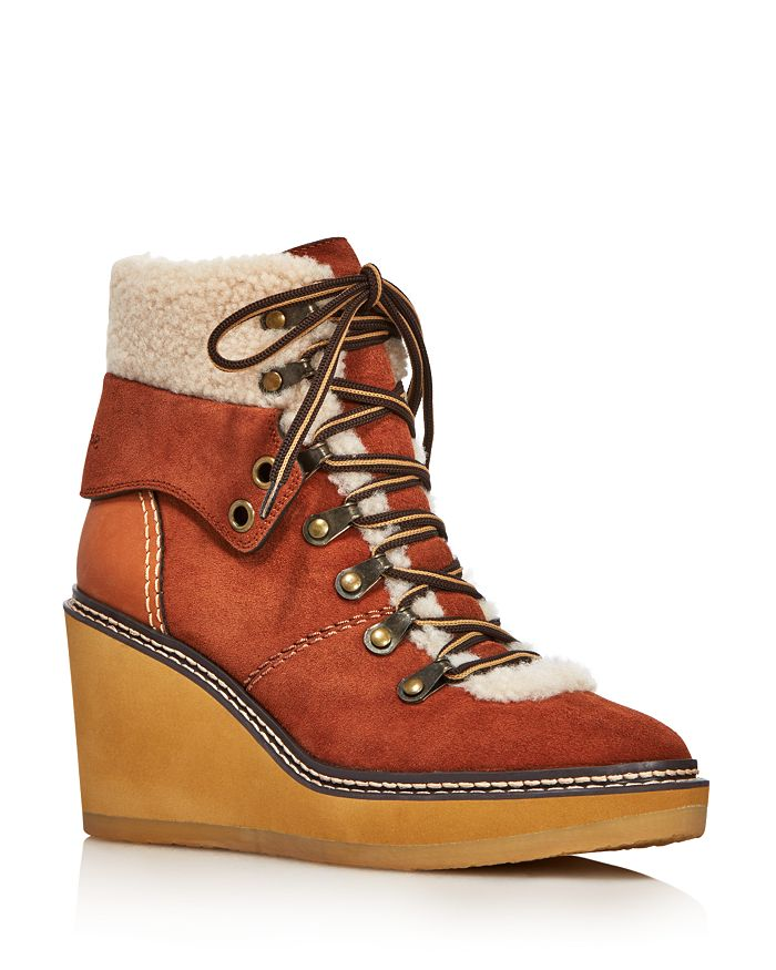705663f5eb8f See by Chloé - Women s Eileen Shearling-Lined Wedge Hiker Booties - 100%  Exclusive