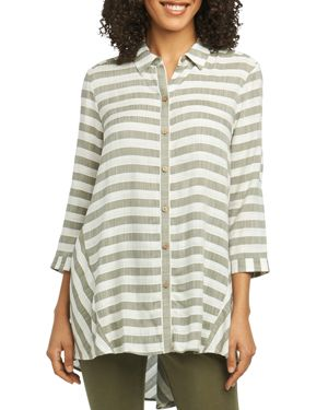 FOXCROFT SHIRLYN STRIPED HIGH/LOW TUNIC SHIRT