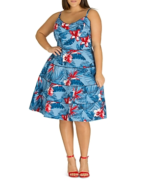 City Chic Plus Love Hawaii Piped Tropical-Print Dress