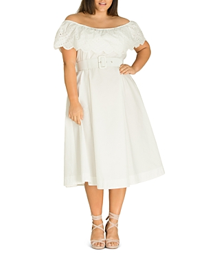 City Chic Plus Belted Off-the-Shoulder Midi Eyelet Dress