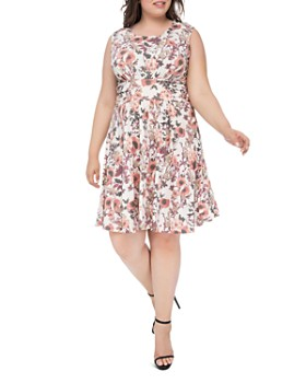B Collection by Bobeau Curvy - Skye Floral-Print Fit-and-Flare Dress