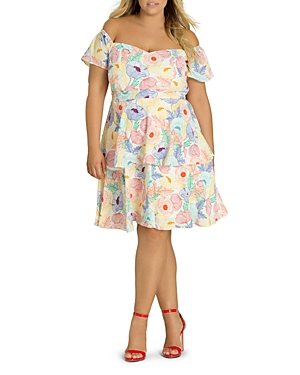 City Chic Plus Etched Poppy Tiered Ruffle Dress