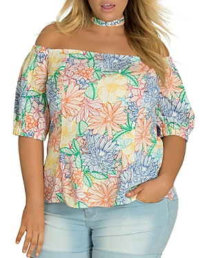 City Chic Plus Etched Bloom Print Top