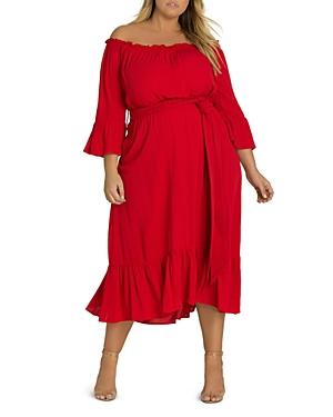 City Chic Plus Off-the-Shoulder Ruffled Midi Dress