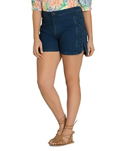 City Chic Plus - Denim Lace-Up Shorts