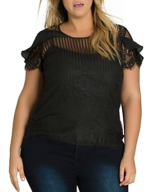 City Chic Plus Striped Lace Ruffle Top