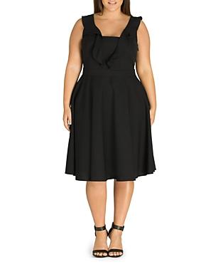 City Chic Plus Flirty Flutter Dress