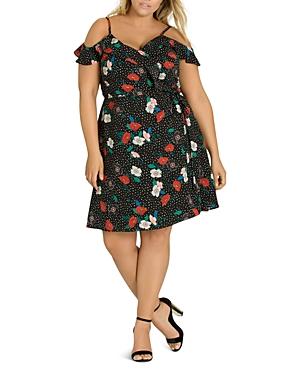 City Chic Plus Floral Dot Cold-Shoulder Wrap Dress