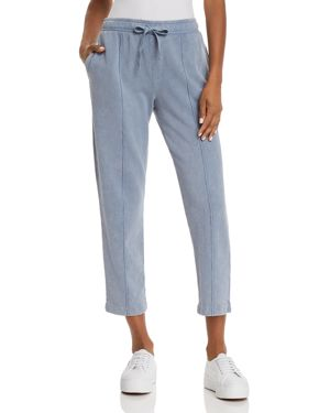 Croma Wash Drawstring-Waist Pull-On Cropped Cotton Pants, Blue