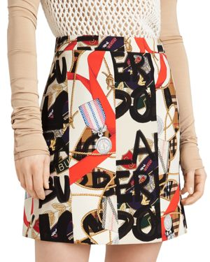 Stanforth Short Archive Scarf & Graffiti-Print Skirt, Stone Pattern