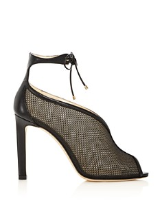 Jimmy Choo - Women's Sheldon 100 Leather & Mesh Ankle Tie High-Heel Booties