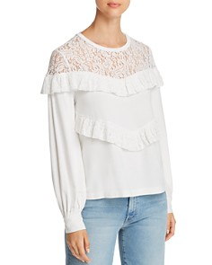 Marled - Ruffled Lace-Yoke Sweatshirt