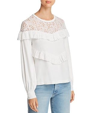 Marled Ruffled Lace-Yoke Sweatshirt