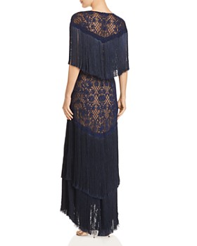 Tadashi Shoji - Embroidered Fringe Gown