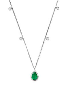 "Bloomingdale's - Emerald & Diamond Charm Necklace in 14K White Gold, 18"" - 100% Exclusive"