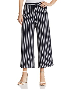 AQUA - Striped Cropped Wide-Leg Pants - 100% Exclusive