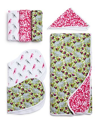 Aden and Anais - Paradise Cove White Label Swaddles, Bibs & Blanket