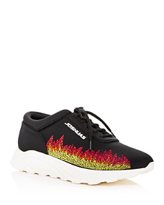 Joshua Sanders - Women's Dirty Flames Lace Up Wedge Sneakers