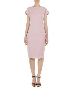 Bow Shoulder Pencil Dress, Lilac