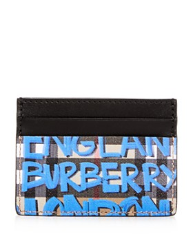 Burberry - Sandon Graffiti Print Vintage Check Leather Card Case